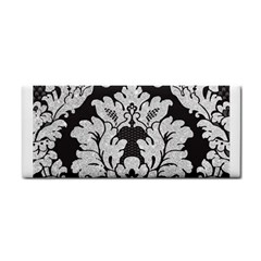 Diamond Bling Glitter On Damask Black Hand Towel