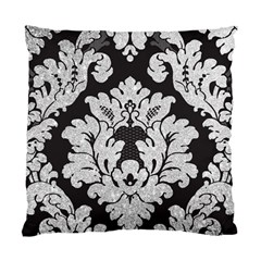 Diamond Bling Glitter On Damask Black Twin Sided Cushion Case by artattack4all
