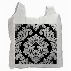 Diamond Bling Glitter On Damask Black Single Sided Reusable Shopping Bag by artattack4all