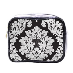Diamond Bling Glitter On Damask Black Single Sided Cosmetic Case by artattack4all