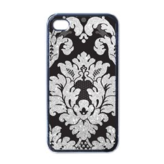 Diamond Bling Glitter On Damask Black Black Apple Iphone 4 Case by artattack4all