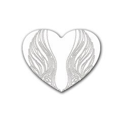 Angel Bling Wings 4 Pack Rubber Drinks Coaster (heart)
