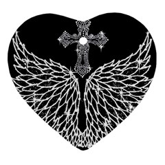 Bling Wings And Cross Ceramic Ornament (heart) by artattack4all