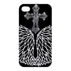 Bling Wings And Cross Apple Iphone 4/4s Hardshell Case by artattack4all