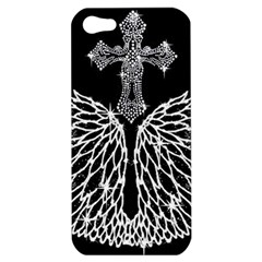 Bling Wings And Cross Apple Iphone 5 Hardshell Case by artattack4all
