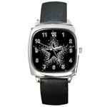 Sparkling Bling Star Cluster Black Leather Watch (Square) Front