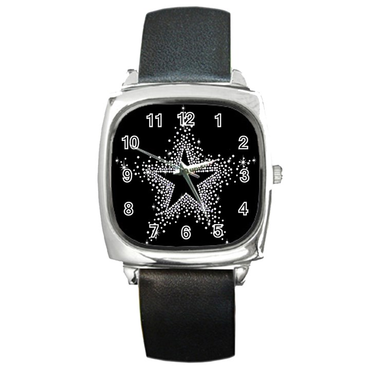 Sparkling Bling Star Cluster Black Leather Watch (Square)