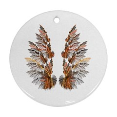 Brown Feather Wing Ceramic Ornament (round) by artattack4all