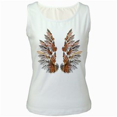 Brown Feather Wing White Womens  Tank Top by artattack4all