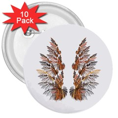 Brown Feather Wing 10 Pack Large Button (round) by artattack4all