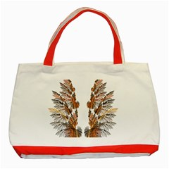 Brown Feather Wing Red Tote Bag by artattack4all
