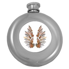 Brown Feather Wing Hip Flask (round) by artattack4all