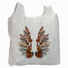 Brown Feather Wing Single Sided Reusable Shopping Bag by artattack4all