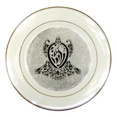 Diamond Bling Lion Porcelain Display Plate by artattack4all