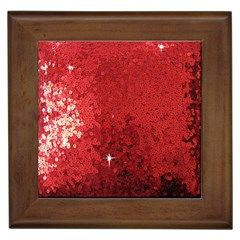 Sequin And Glitter Red Bling Framed Ceramic Tile by artattack4all