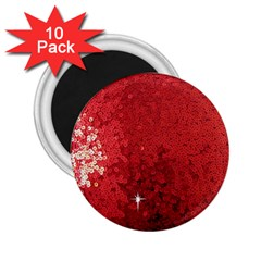 Sequin And Glitter Red Bling 10 Pack Regular Magnet (round)