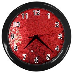 Sequin And Glitter Red Bling Black Wall Clock by artattack4all