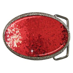 Sequin And Glitter Red Bling Belt Buckle (oval) by artattack4all