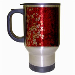 Sequin And Glitter Red Bling Brushed Chrome Travel Mug