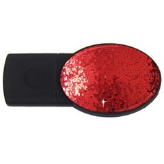 Sequin And Glitter Red Bling 4gb Usb Flash Drive (oval) by artattack4all