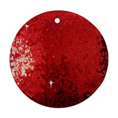 Sequin And Glitter Red Bling Twin-sided Ceramic Ornament (round) by artattack4all