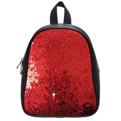 Sequin And Glitter Red Bling Small School Backpack by artattack4all