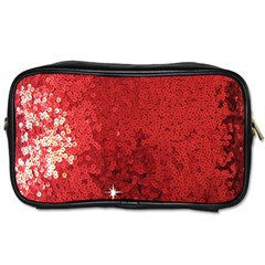Sequin And Glitter Red Bling Twin Sided Personal Care Bag by artattack4all