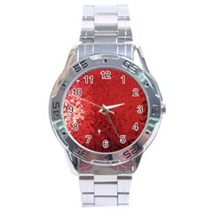 Sequin And Glitter Red Bling Stainless Steel Analogue Watch (round) by artattack4all