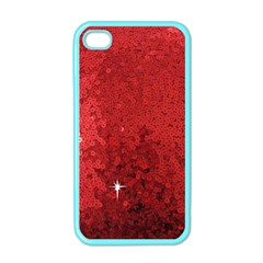 Sequin And Glitter Red Bling Apple Iphone 4 Case (color) by artattack4all