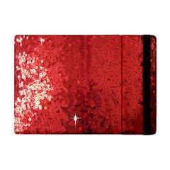 Sequin And Glitter Red Bling Apple Ipad Mini Flip Case by artattack4all