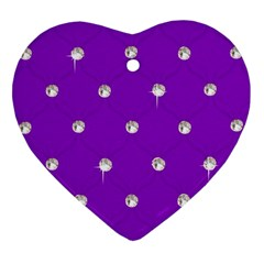 Royal Purple And Silver Bead Bling Ceramic Ornament (heart) by artattack4all