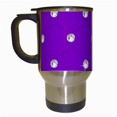 Royal Purple And Silver Bead Bling White Travel Mug by artattack4all