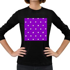 Royal Purple And Silver Bead Bling Dark Colored Long Sleeve Womens'' T Shirt
