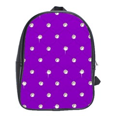 Royal Purple And Silver Bead Bling Large School Backpack by artattack4all