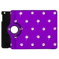 Royal Purple And Silver Bead Bling Apple Ipad Mini Flip 360 Case by artattack4all