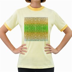Diamond Cluster Color Bling Colored Ringer Womens  T-shirt by artattack4all