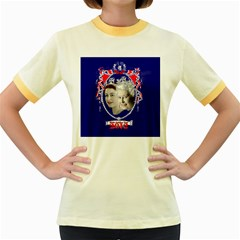 Queen Elizabeth 2012 Jubilee Year Colored Ringer Womens  T Shirt by artattack4all