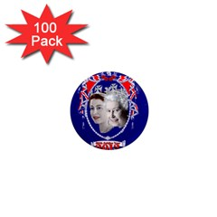 Queen Elizabeth 2012 Jubilee Year 100 Pack Mini Magnet (round) by artattack4all