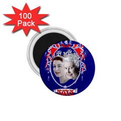 Queen Elizabeth 2012 Jubilee Year 100 Pack Small Magnet (round) by artattack4all
