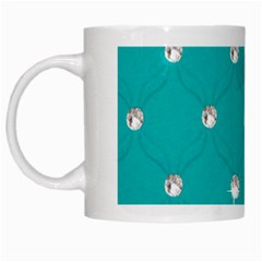 Turquoise Diamond Bling White Coffee Mug by artattack4all