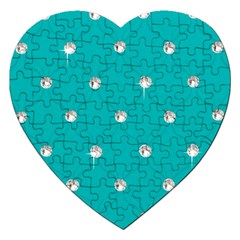Turquoise Diamond Bling Jigsaw Puzzle (heart)