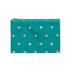 Turquoise Diamond Bling Medium Makeup Purse