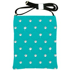 Turquoise Diamond Bling Cross Shoulder Sling Bag by artattack4all