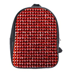 Deep Red Sparkle Bling Large School Backpack