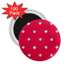 Red Diamond Bling  100 Pack Regular Magnet (round) by artattack4all