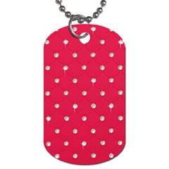 Red Diamond Bling  Twin Sided Dog Tag