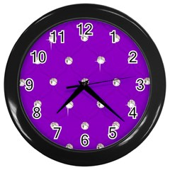 Royal Purple Sparkle Bling Black Wall Clock by artattack4all