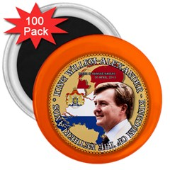 King Willem Alexander 100 Pack Large Magnet (round) by artattack4all