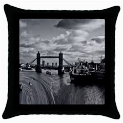 River Thames Waterfall Black Throw Pillow Case by Londonimages