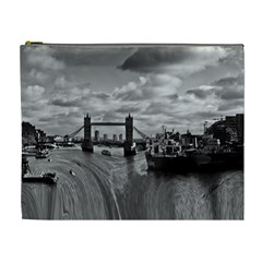 River Thames Waterfall Extra Large Makeup Purse by Londonimages